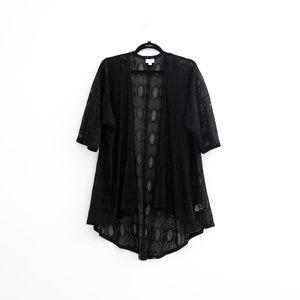 LULAROE Open Front Lace Oversized Cardigan - Black